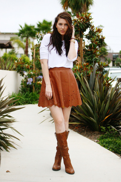 brown ASTR skirt - brown Steve Madden boots - white Old Navy shirt