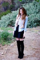 black Steve Madden boots - light blue BDG shirt - black MIKKAT MARKET skirt