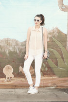 white convser shoes - heather gray Target purse - white No Boundaries pants