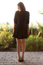 black DIY skirt - navy asos heels