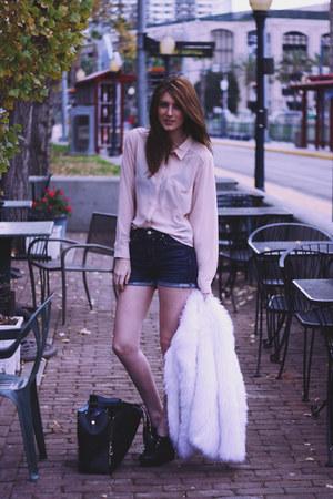 H&M blouse - faux fur Self Sewn coat - romwe purse - kasil shorts