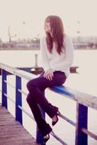 black Zara heels - blue David Kahn jeans - ivory JCP sweater