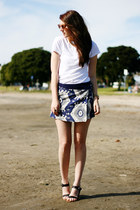 blue Zara skirt - black Stylenanda shoes - white canvas lands end shirt
