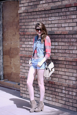 light blue denim Forever 21 shorts - camel wedge Urban Outfitters shoes