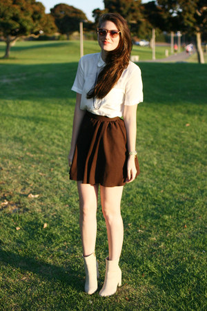 brown DIY skirt - neutral H&M boots - white madewell blouse