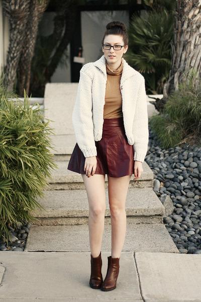 crimson romwe skirt - brown franco sarto boots - white H&M x MMM jacket