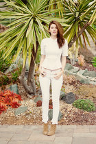 white H&M blouse - camel asos boots - white No Boundaries pants