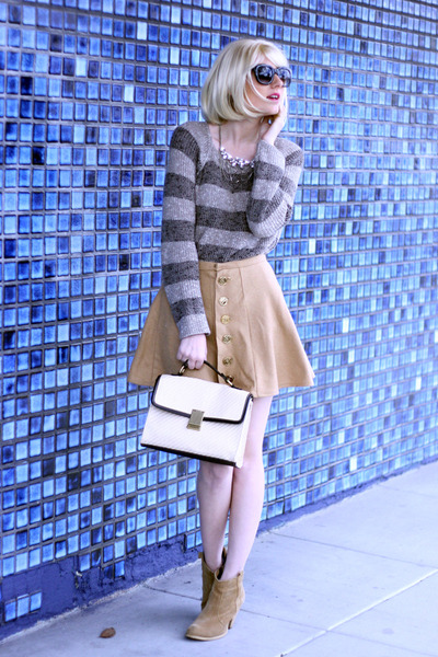 camel asos inspired Self Sewn skirt - tan striped brandy melville sweater