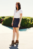 blue madewell skirt - camel Target shoes - white madewell shirt