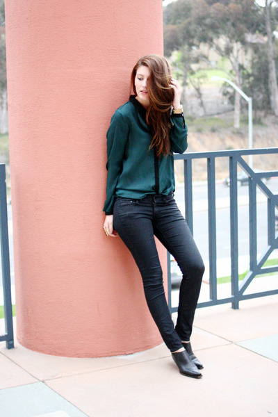 teal Zara shirt - black vintage shoes - black H&M pants
