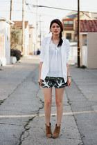 white Forever 21 blazer - camel asos boots