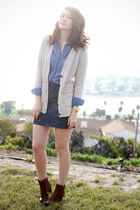 camel madewell cardigan - brown franco sarto boots - blue BDG shirt