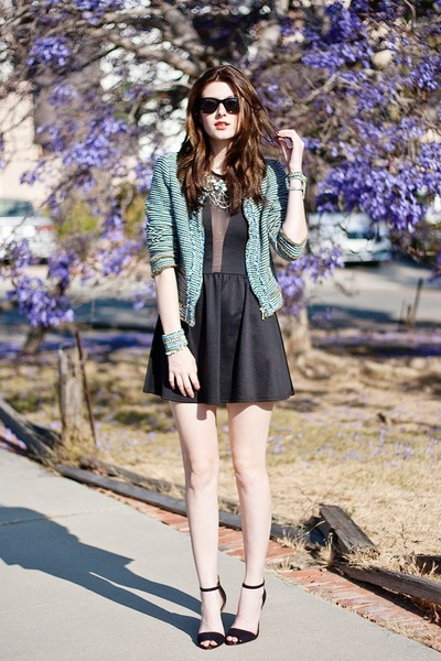 turquoise blue Zara blazer - black For Love and Lemons dress - black Zara heels