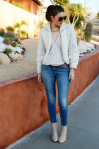 white Nordstrom blouse - off white H&M boots - blue madewell jeans