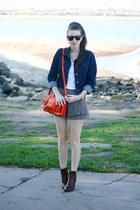 orange Target purse - brown franco sarto boots - blue Target jacket