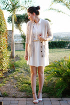 camel madewell sweater - white H&M dress - camel Zara heels