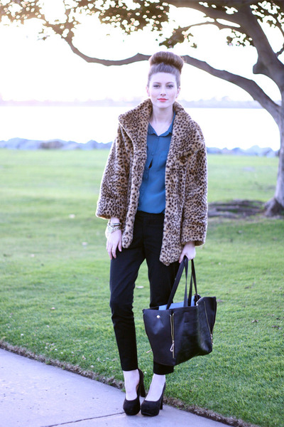 faux fur Self Sewn jacket - black leather romwe purse