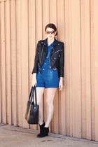 black Target shoes - black Nasty Gal jacket - black romwe purse