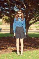 blue romwe blouse - black MIKKAT MARKET skirt