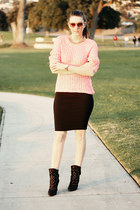 black Zara shoes - light pink H&M sweater - black asos skirt