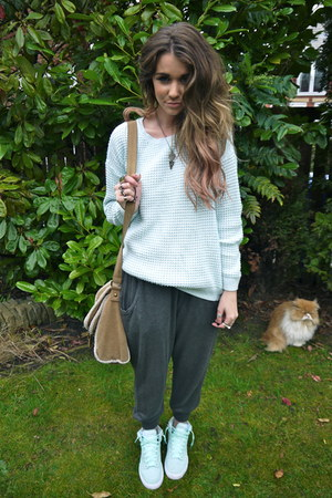aquamarine nike sneakers - light blue Topshop sweater - camel Topshop bag