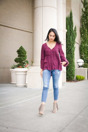 free people blouse - boutique boots - AG jeans