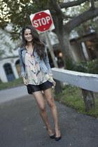 Parker blouse - f21 shorts - Zara heels