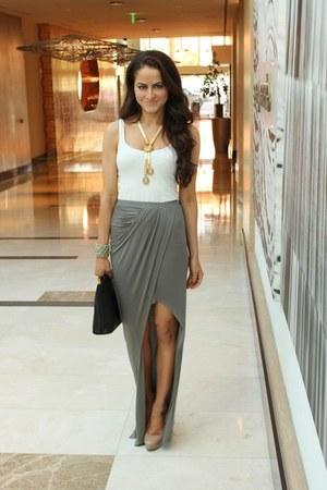 Prada bag - free people top - vintage necklace - Aldo heels - Helmut Lang skirt