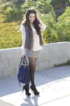 faux fur Club Monaco vest - YSL boots - Chloe bag - H&M shorts - Topshop blouse