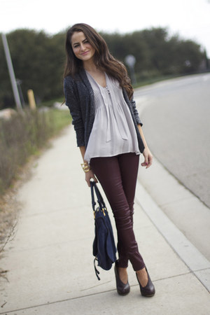 wetlook Topshop pants - sequin Zara sweater - Chloe bag - Joie top - LF heels