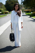 white Zara coat - BCBG top