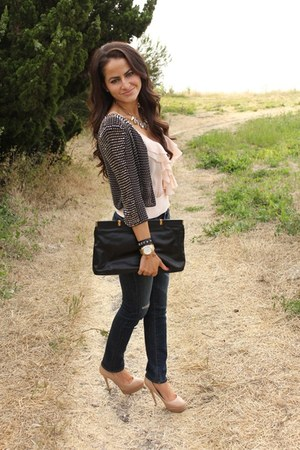 AG Jeans jeans - studded Top Shop jacket - Prada purse - ruffled top - Aldo pump