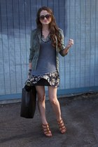 Gucci sandals - free people jacket - LF shirt - Zara bag - madewell skirt