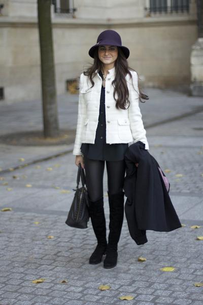 c4de87342ee Zara jacket - over the knee stuart weitzman boots - wet look Topshop  leggings