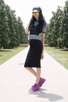 black pencil skirt American Apparel skirt - silver angora vintage sweater