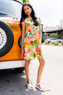 Carrot-orange-tropical-print-missguided-dress-white-white-sandals-asos-sandals