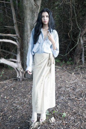 nude vintage skirt - neutral booties Nine West shoes - light blue silk blouse
