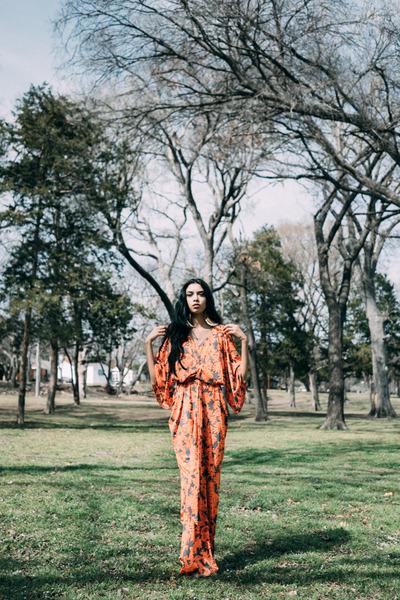 orange Nordstrom dress - teal Nasty Gal jacket