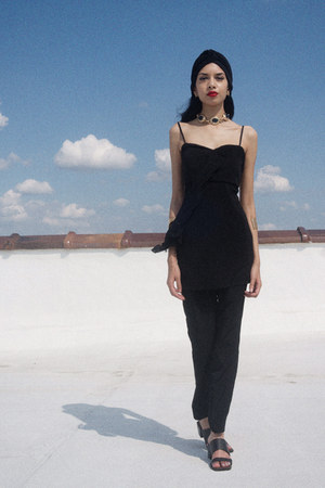 black top BCBGeneration dress - black trousers American Apparel pants