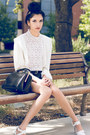 Blue-denim-shorts-forever-21-shorts-white-lace-vintage-blouse