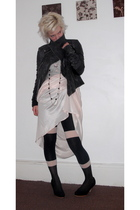 black custom made jacket - black House of Holland tights - pink vintage dress -