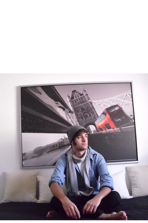 black Zara pants - blue H&M shirt - silver hat - silver H&M scarf - white H&M t-