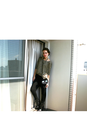 h&m gold top - forever 21 harem pants - alice  olivia for payless boots - cat pu