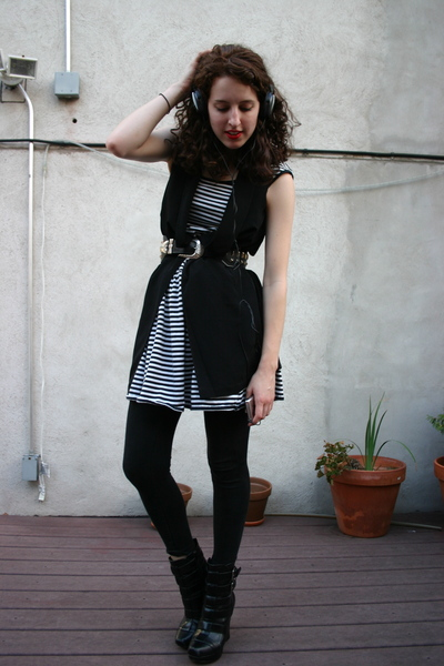 thrifted esprit dress - h&amp;m silk vest - vintage studded belt - alice  olivia for