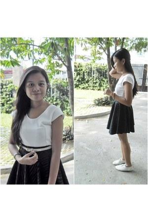 white from Korea shoes - black flea market skirt - white flea market top