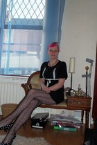 black Rainbeaux dress - black fishnet Topshop tights - black polkadot TUK heels