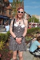 hot pink floral print Perera dress - black polkadot Accessorize bag - white 60s