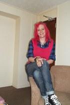 black Converse shoes - blue denim G-Star jeans - navy checked flannel DENIM Co s