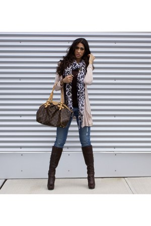 skinny H&M jeans - brown leather Guess boots - tivoli gm Louis Vuitton purse