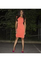 neon pink Nine West shoes - jersey dress New York & Company dress